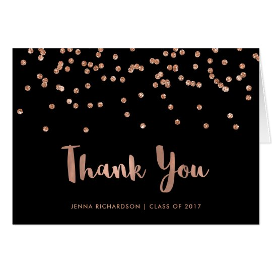 Faux Rose Gold Confetti Graduation Thank You Card