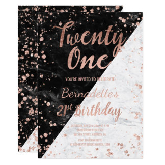Faux rose gold confetti marble 21st Birthday Card