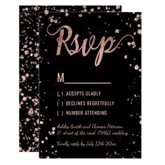 Faux rose gold confetti modern RSVP Wedding Card