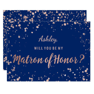 Faux rose gold confetti navy blue Matron of honor Card