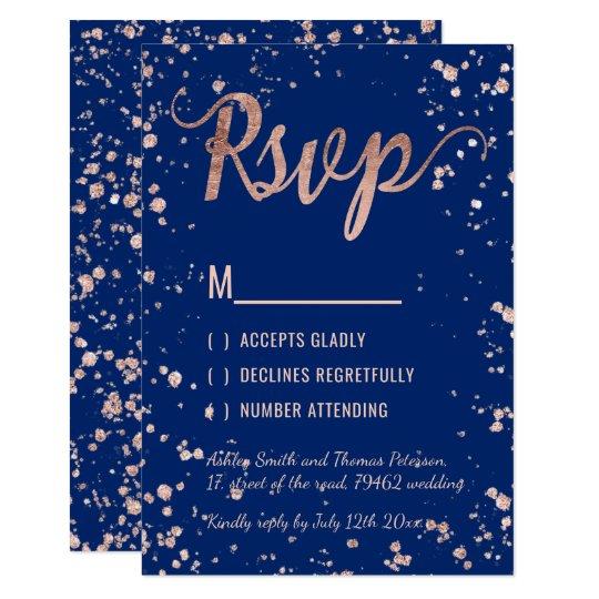 Faux rose gold confetti navy blue RSVP Wedding