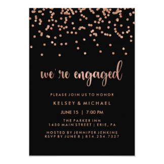 Faux Rose Gold Confetti on Black Engagement Party Card