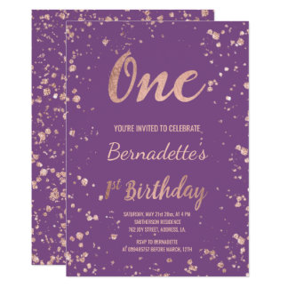 Faux rose gold confetti purple first Birthday Card