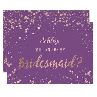 Faux rose gold confetti purple splatter bridesmaid card