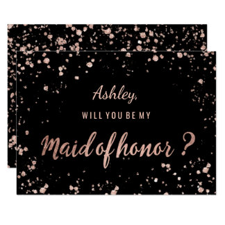 Faux rose gold confetti splatters maid of honor card