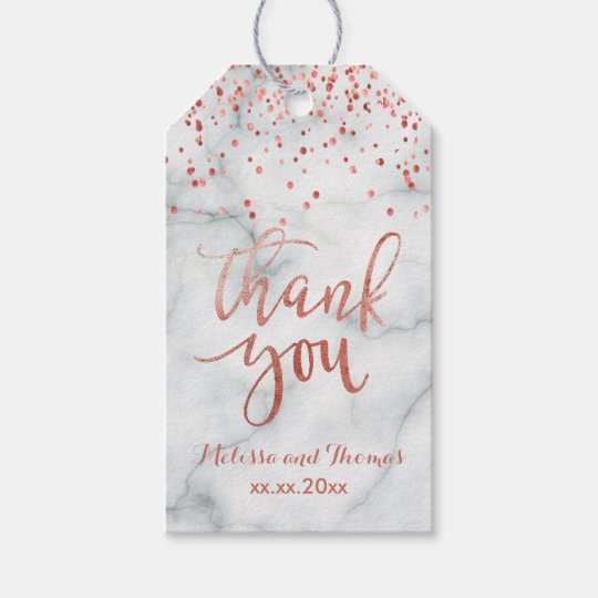 faux rose gold confetti thank you calligraphy