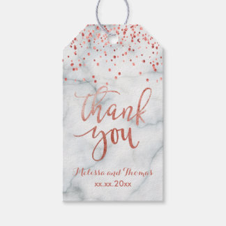 faux rose gold confetti thank you calligraphy gift tags