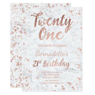 Faux rose gold confetti white marble 21st Birthday 13 Cm X 18 Cm Invitation Card