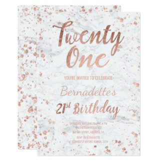 Faux rose gold confetti white marble 21st Birthday Card