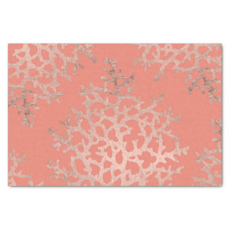 Faux rose gold coral sea pattern salmon tissue paper