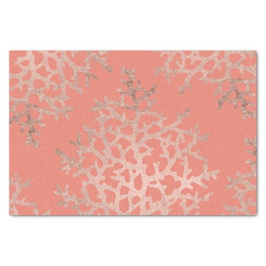 Faux rose gold coral sea pattern salmon tissue