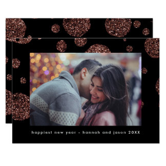 Faux Rose Gold Dots on Black New Year Photo Card