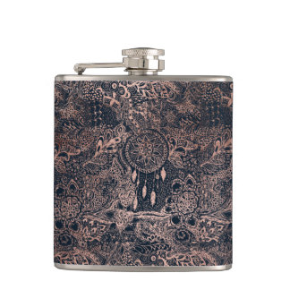 Faux rose gold dreamcatcher floral navy blue hip flask