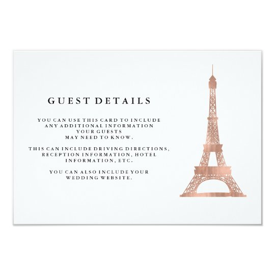 Faux Rose Gold Eiffel Tower Wedding Guest Details