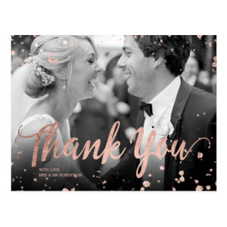 Faux rose gold elegant confetti wedding thank you postcard