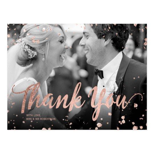 Faux rose gold elegant confetti wedding thank you