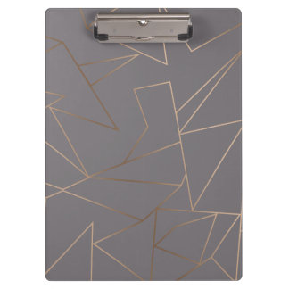 Faux rose gold elegant modern minimalist geometric clipboard