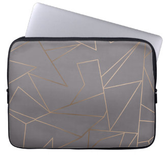 Faux rose gold elegant modern minimalist geometric laptop sleeve