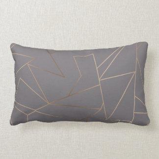 Faux rose gold elegant modern minimalist geometric lumbar cushion