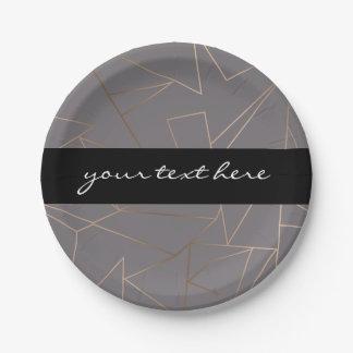 Faux rose gold elegant modern minimalist geometric paper plate