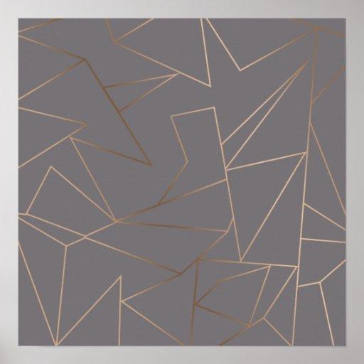 Faux rose gold elegant modern minimalist geometric poster