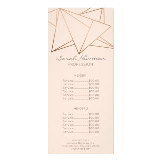 Faux rose gold elegant modern minimalist geometric rack card
