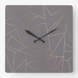 Faux rose gold elegant modern minimalist geometric square wall clock