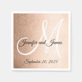 Faux Rose Gold Elegant Monogram Names Wedding Paper Napkin