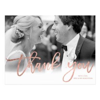 Faux rose gold elegant script wedding thank you postcard