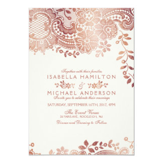 Faux rose gold elegant vintage lace wedding card