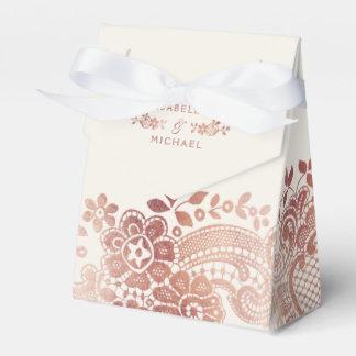 Faux rose gold elegant vintage lace wedding favor favour box