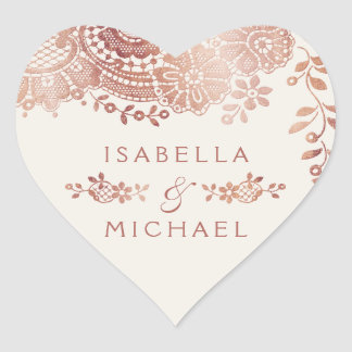 Faux rose gold elegant vintage lace wedding favor heart sticker