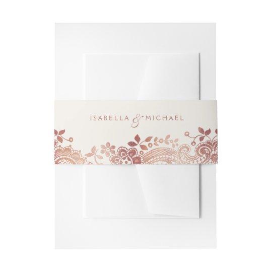 Faux rose gold elegant vintage lace wedding invitation