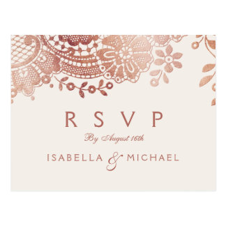Faux rose gold elegant vintage lace wedding RSVP Postcard
