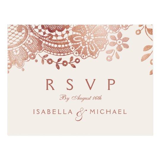 Faux rose gold elegant vintage lace wedding RSVP