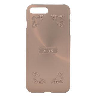 Faux Rose Gold Fancy Metallic 3D Details Monogram iPhone 8 Plus/7 Plus Case