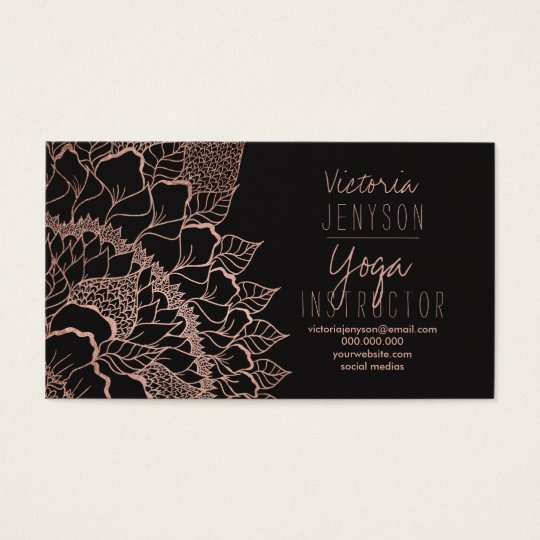 Faux rose gold floral mandala yoga instructor business