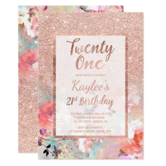 Faux rose gold floral watercolor 21st Birthday Card