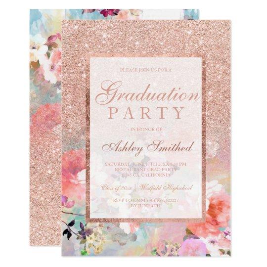 Faux rose gold floral watercolor Graduation party Card