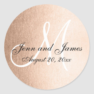 Faux Rose Gold Foil Black Wedding Favor Initial Round Sticker