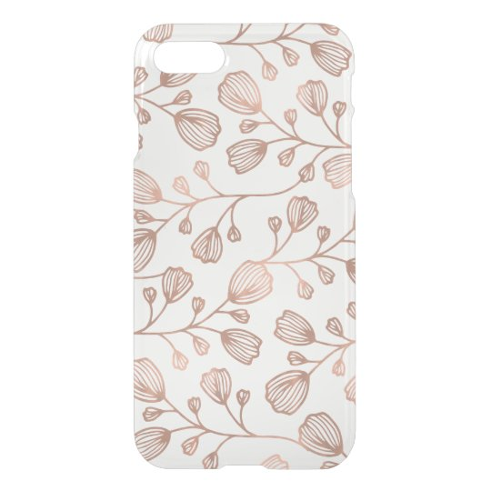 Faux Rose Gold Foil Botanical Pattern Clear iPhone