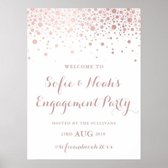 Faux Rose Gold Foil Confetti Engagement Party Sign