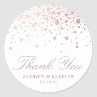 Faux Rose Gold Foil Confetti Thank You Sticker