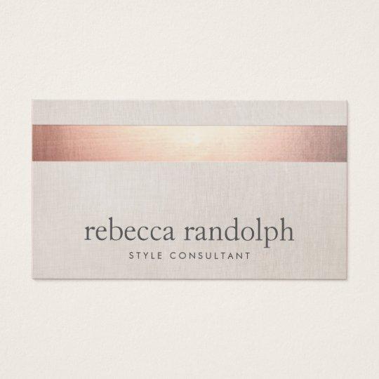 Faux Rose Gold Foil Elegant Modern Beige Linen