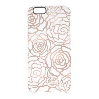 Faux Rose Gold Foil Floral Lattice Clear iPhone 6 Plus Case