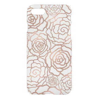 Faux Rose Gold Foil Floral Lattice Clear iPhone 7 Case