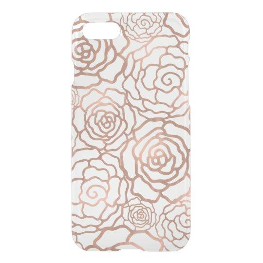 Faux Rose Gold Foil Floral Lattice Clear iPhone