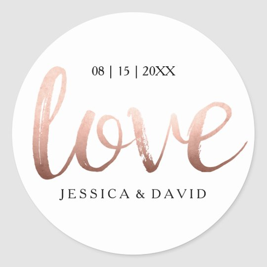 Faux Rose Gold Foil Love Classic Round Sticker