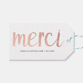 Faux Rose Gold Foil Merci Gift Tags