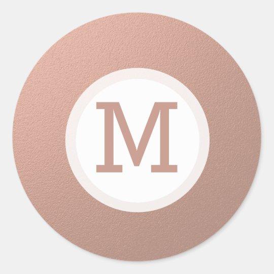 Faux Rose Gold Foil Monogram Initial Seal
